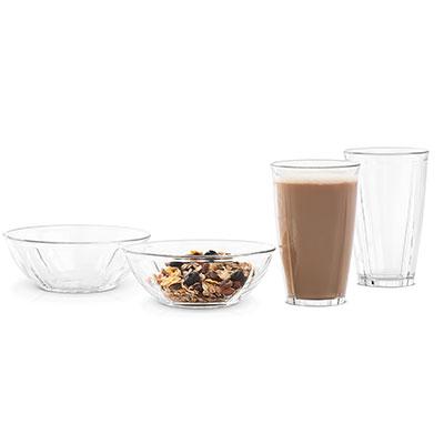Latteglas & skålar set