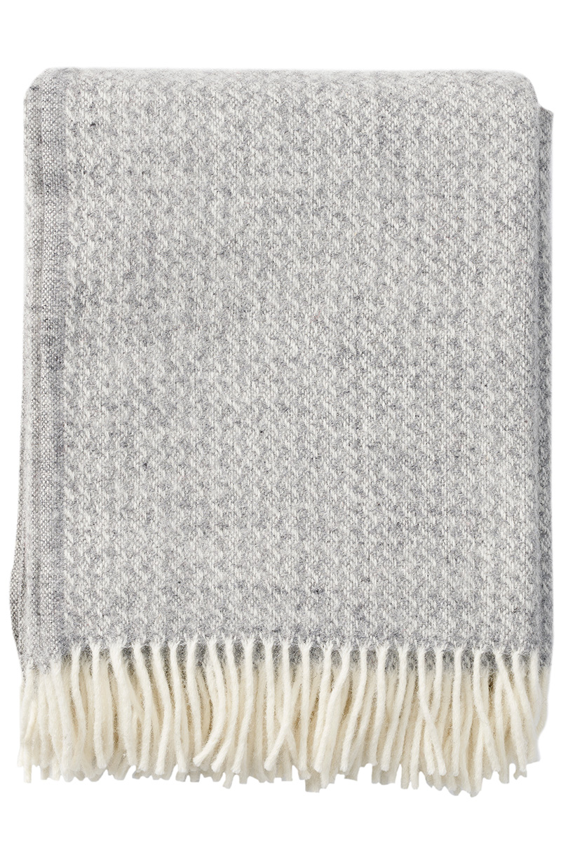 Klippan Breeze 203085 natural grey wool throw