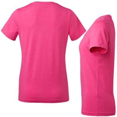 fairtrade t shirt rund hals dam cerise bak fram