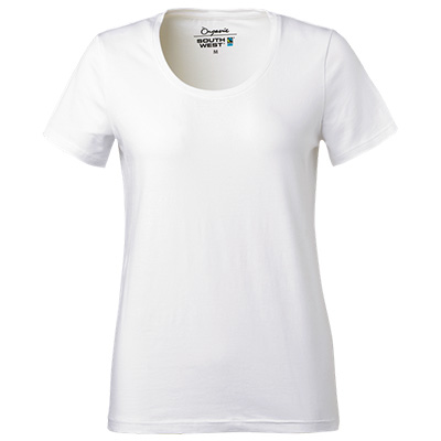 fairtrade t shirt rund hals dam vit