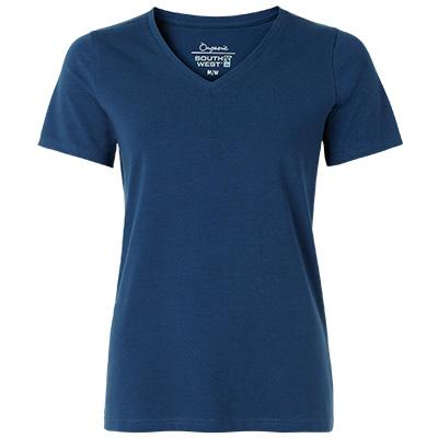 fairtrade t shirt v neck dam indigo