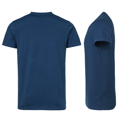 fairtrade t shirt v neck herr indigo bak o sida