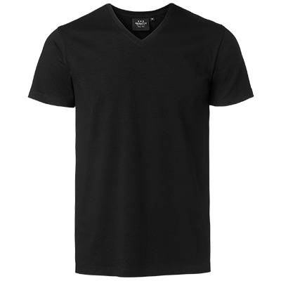 fairtrade t shirt v neck herr svart