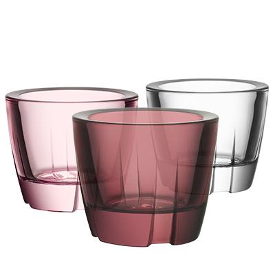kosta boda bruk ljuslykta aubergine pink clear