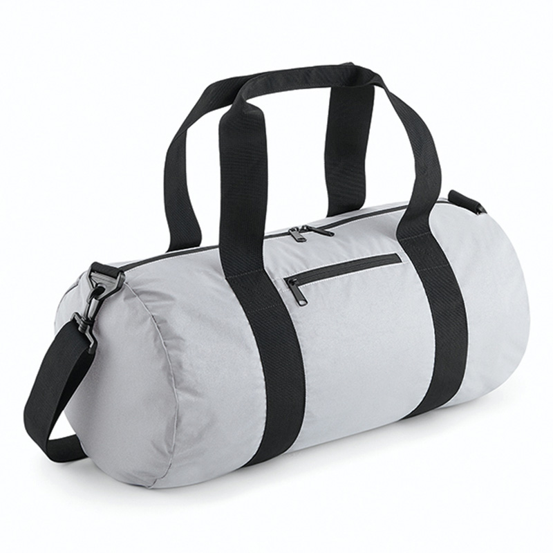 reflective barrel bag silver
