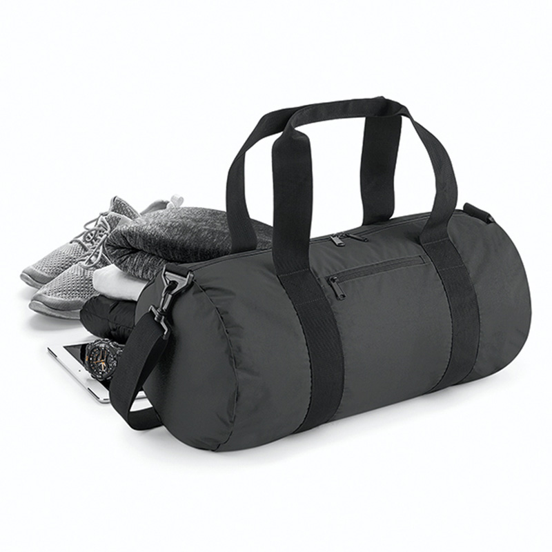 reflective barrel bag svart1
