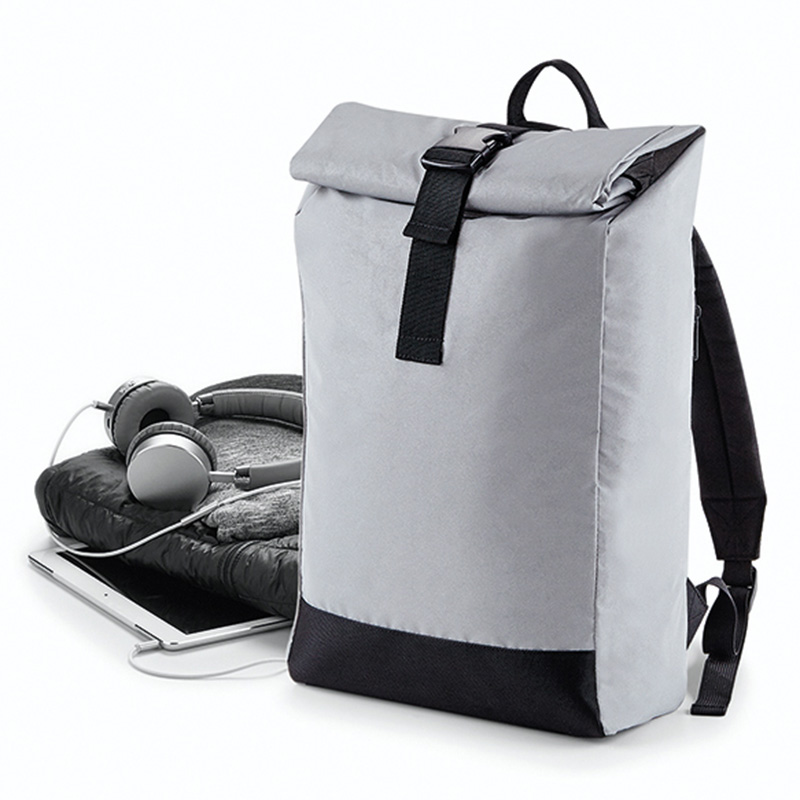 reflective roll top backpack silver