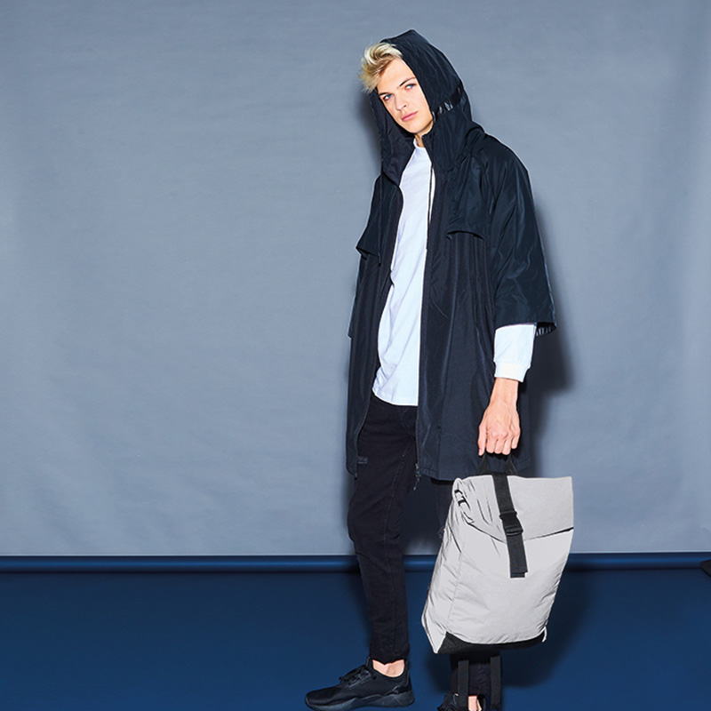 reflective roll top backpack silver4