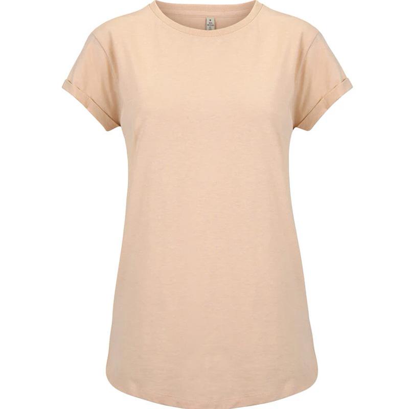 t shirt rullad arm dam misty pink