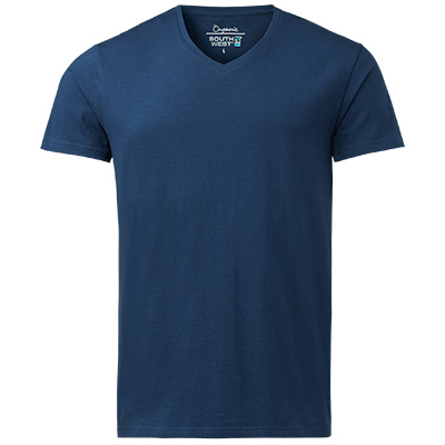 fairtrade t shirt v neck herr indigo